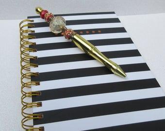 Ink Pen Gold Beadable Beaded Writing Pen