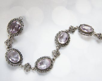 Antique Silver Bracelet - Amethyst Bracelet - 1900s Fashion - Victorian Jewelry - Downton Abbey Jewelry - Gift For Her - Silver Filigree
