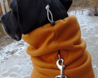 Add an elastic drawstring or leash hole to a neckwarmer / snood / gaiter or dog neck warmer