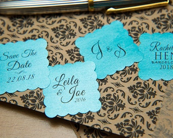 "Turquoise Pearlised 1.5 inch Square Shiny Stickers, Envelope Seals. Custom Blue Stickers. 1.5"" Save the date stickers. Invitation Seals."