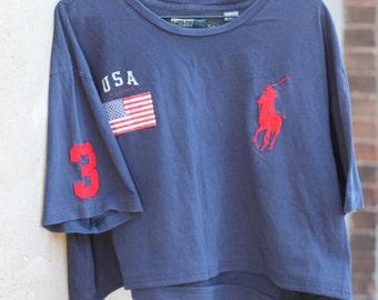 Polo by Ralph Lauren Crop Top USA T-Shirt in Navy