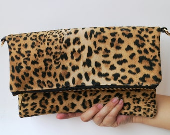 SALE 15% Leopard leather clutch bag, Personalize Clutch,Leather leopard Clutch, leopard clutch, Suede clutch, leopard wristlet, gift for her
