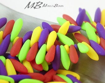 Large Neon Dagger Bead Mix, 25 Yellow Matte, Purple Matte, Green Matte, and Red Matte Mixed Beads, Czech Glass 5x16mm