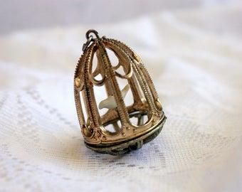 Dove in Bird Cage Pendant / Dove Pendant / Bird Cage  Jewellery