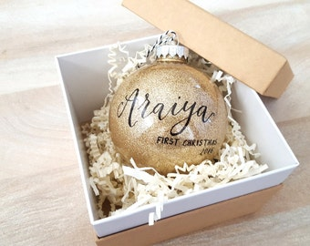 Personalized BABY'S FIRST CHRISTMAS Ornament gift with calligraphy - One (Gold)