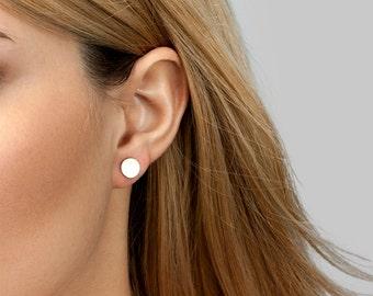 Circle Studs, Stud Earrings, Gold Circle Earrings, Simple Earrings, in 14kt Gold Filled, Sterling Silver [B41]