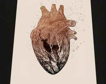 Wild Heart, fine art print on aged quality textured 300gr paper