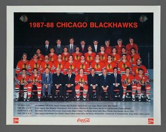 1987-88 Chicago Blackhawks Poster 17 x 22 Vintage NHL Hockey Team Poster