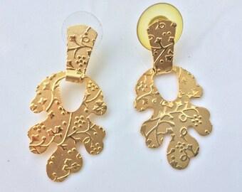 Oak Leaf Earrings Witch Earrings Elven Fantasy Etched Floral Motif Metal Sheet Stud Dangle Earrings Gold Earrings Modern Rustic Forrest