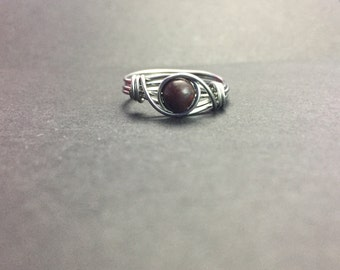 Bloodstone Wire Wrapped Ring