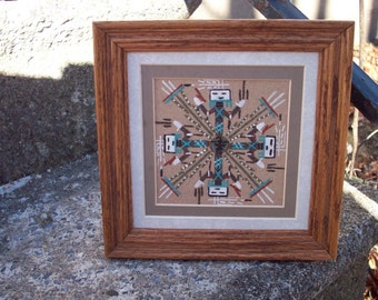 Native American Sand Art, Navajo Sand painting, symbol of healing, Yei, framed Navajo Art, artist Johnson, Man Cave Woodland gift for him