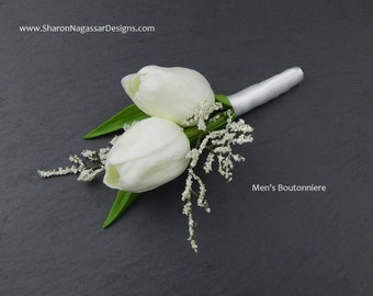 Tulip/tulips, Corsage OR Boutonniere, white, red, orange, pink, plum, Real Touch flowers, silk, prom/wedding, buttonhole