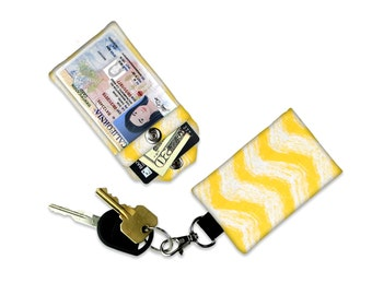 Yellow Chevron Mini Wallet Card Holder Keychain Clear ID Holder Small Wallet ID Wallet Minimalist Wallet Student ID Badge Credit Card Wallet
