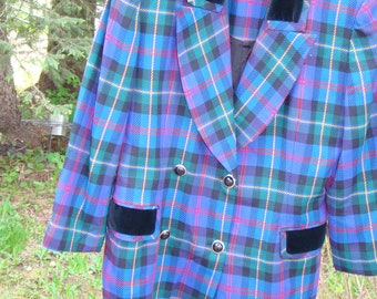1980s Jones of New York Blue Plaid Double Breasted Coat Dress