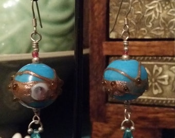 Italian blue glass drop earrings