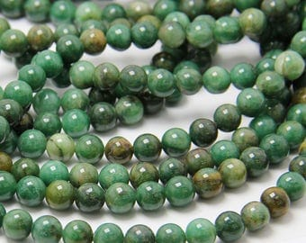 Wholesale Australian Jade 6, 8, 10 mm. Smooth Round Green Jade, Natural Stone and Color, Beads for Handmade Jewelry, High Quality Bead