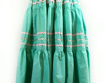 50s Circle Skirt, Vintage Blue Green Handmade Tiered Full Skirt with Ric Rac Trim
