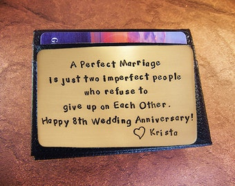 8th year anniversary, bronze, wallet insert, love reminder card, A Perfect Marriage, Anniversary Quote, cool men's gift