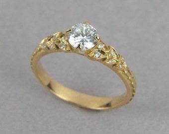 Leaf Engagement Ring, 18k Enagement Ring, Gold Leaf Ring, Vintage Leaf Ring, Deco Engagement Ring, diamond leaf ring, engagement leaf ring