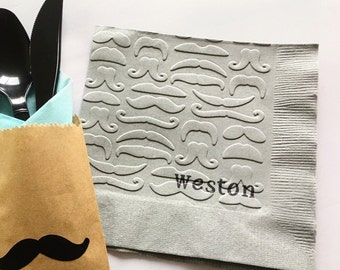 Mustache Napkins - Mustache Baby Shower - Little Man - It's a Boy - Stache Bash - Bachelor Party - Mustache Party - Mustache and Lips - Lip