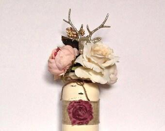 Cream Quart Sized Mason Jar with Burlap Ribbon, Dusty Rose Shabby Flower and Twine Bow
