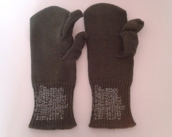 Vintage 1940's WWII US Army Wool Trigger Gloves Mitten Inserts Sz Med Military Rustic