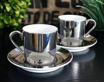 Georg Jensen Porcelain Mid Century Modern Demitasse Espresso coffee Cups 2pc set Silver Vintage 1970s
