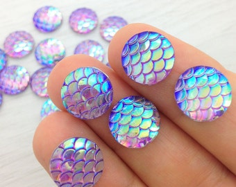 Purple Mermaid Scales, Resin Cabochons, x10, Purple and Blue, Rainbow Cabs, 12mm, Scrapbooking, Dragon Scales, FBC106
