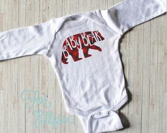 Plaid Baby Bear Newborn baby boy bodysuit - one piece newborn - Buffalo Check