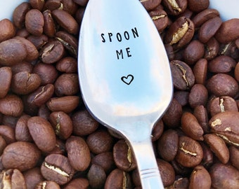 Spoon Me Spoon w/ Heart, Hand Stamped, Funny, Gift, Present, Girlfriend, Boyfriend, Husband, Wife, Anniversary, Valentine's Day, Birthday