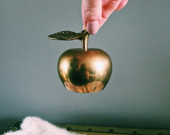 Vintage Solid Brass Apple Paperweight