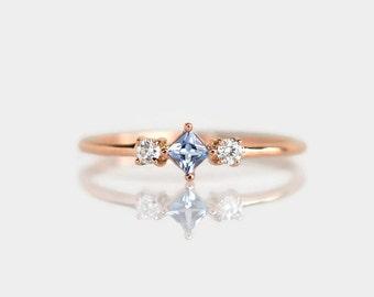 rose gold ring,  rose gold engagement ring, 14k gold ring, aquamarine engagement ring, aquamarine rose gold ring, aquamarine diamond ring