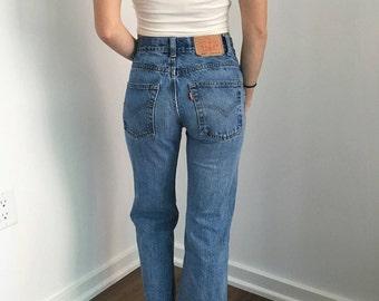 Vintage Levi's 550 High Waist Culotte Jeans // Size XS