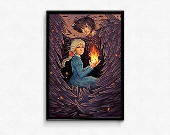 Howl's Moving Castle Sophie Calcifer Poster Print