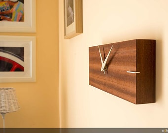 "Rectangular wooden wall clock – handmade and made in Italy-""Line"""