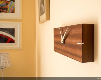 "Wooden wall clock, rectangular – handmade and made in Italy-""Linea"""