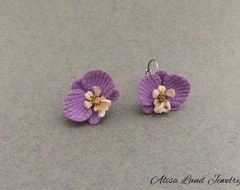 Orchid flower earrings, Polymer clay jewelry, Purple white earrings, Wedding prom earrings, Floral earrings, Gift for her, Girls earrings