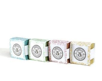 Soap Set   Shea Butter Soaps, Guest Size Soap, Vegan Gift, Gift for Her, Soap Favors, Guest Soap, Shower Favors   4 Soaps 4 Colors 4 Scents