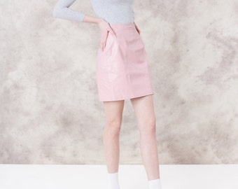 LEATHER mini skirt PASTEL pink 90S vintage women Small / Xs spring Summer valentines day / Better Stay together