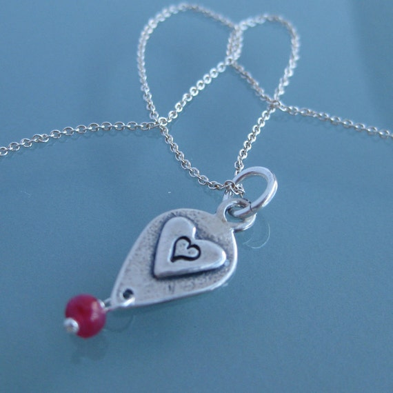 One True Love - Hand stamped sterling silver necklace with genuine ruby. Initial necklace