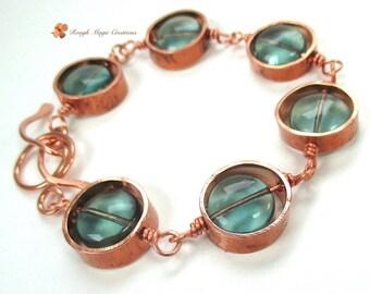 Rustic Copper Bracelet, Green Flourite Gemstones, Boho Jewelry, Semi Precious Stones, Eco Friendly Upcycled Industrial Metal, Eclectic  B252