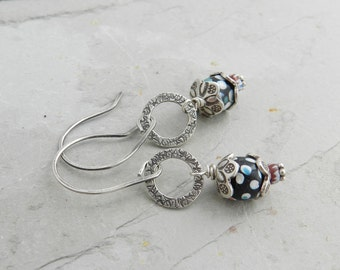 Rare Antique Dots and Chevron Trade Bead & Sterling Link Earrings