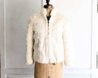 vintage white rabbit fur jacket fur coat 80s