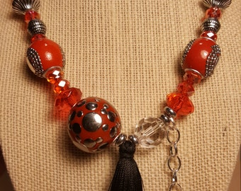 RED TASSEL NECKLACE -  Gift for Her