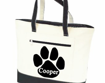 Dog tote bag, Pet tote, personalized dog bag, pet name bag, paw print tote, pet supply bag, dog travel bag, canvas zippered bag
