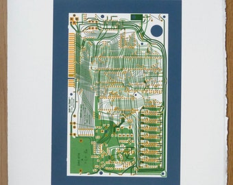 Sinclair ZX Spectrum Issue One screen print yellow greens and sea blue art silkscreen circuit portrait retro computing