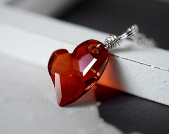 Red Heart Necklace Red Magma Swarovski Crystal Heart Necklace Red Heart Pendant Red Necklace Sterling Silver Wire Wrapped Heart Jewelry