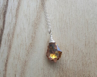 Handmade Necklace - Swarovski Baroque Pendant - Sterling Silver - Wire wrapped - Swarovski Crystal Pendant  - Statement Necklace - Topaz