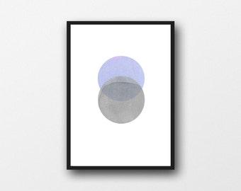 Modern Minimalist art, Abstract minimal Gray blue Watercolor painting, geometrical circles, zen art, abstract painting, watercolor print