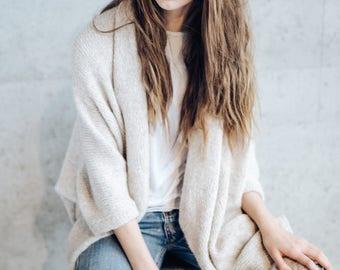 Women's Cardigan Jacket. Oversized Cardigan. Alpaca Merino Wool Knitted Overcoat. Summer Festival Outfit.